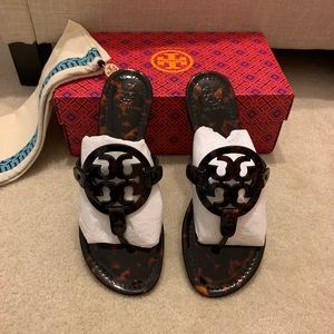 Tory Burch Miller Sandals In tortoise shell color